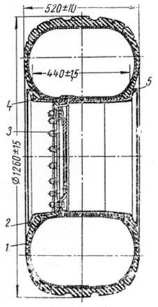 Рис. 2. Колесо в сборе с шиной 1300×530-533 (разрез)